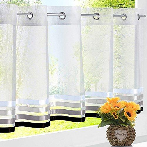 EZ GLAM Ösen Scheibengardine mit Satinbändern Voile Transparent Gardine für Küche Vorhang (H*B 45*120cm, Weiß) (Land Küche Vorhänge)