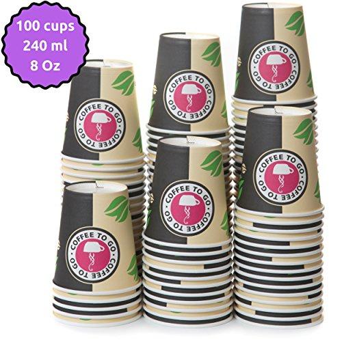 100 Pappbecher 240ml 8 oz Coffee to Go Einweg Becher - Kaffeebecher to Go Zum Servieren von Kaffee Tee heißen und Kalten Getränken