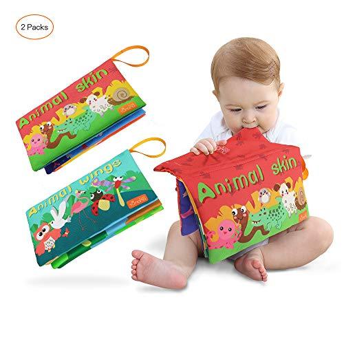 Tumama Libros Blandos para Bebé, Animales Libros de Tela para Bebes, Interactivo Aprendizaje y Educativo Juguetes Regalo para Bebes Recién Nacido Niños 2 Piezas