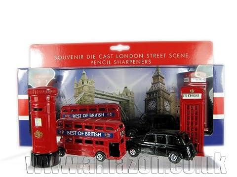 Londres Souvenir / Collectable Die Cast Métal Pencil Sharpener Set-bus, taxi, ...