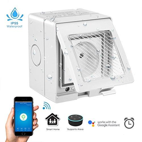 Wasserdichte WLAN Smart Steckdose Outdoor Funktioniert mit Amazon Alexa und Google Home, AOZBZ 2500W Intelligente Plug Outlet mit Timer und Fernbedienung für iOS und Android (Müssen Verdrahtet Werden)