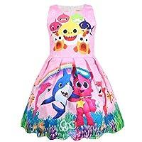 Thombase Baby Girls Shark 3D Print Sleeveless Party Summer Dress (18M-6Y) (pink2, 90(18M-2T))