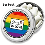 FANS & Friends 3er Pack Dose mit LGBTQ Flagge | Kaugummis, zuckerfrei, vegan | Gay Pride Flag | Love is Love Rainbow
