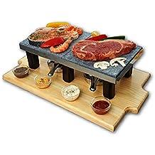 Modelo Piedrasar Bicolor para compartir con piedra volcánica de 40x18 para asar carne y pescado.