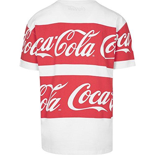 MERCHCODE Herren Coca Cola Stripe Oversized Tee T-Shirt white