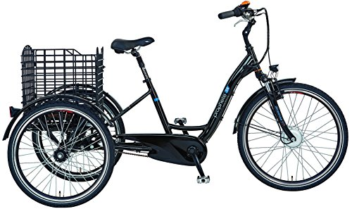 Prophete E-Bike Dreirad Navigator 3R Elektrofahrrad, Schwarz Glanz, 26 Zoll
