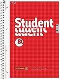 Brunnen 10 x Kollegblock Student A4 kariert Lineatur 28 80 Blatt mit Rand rot