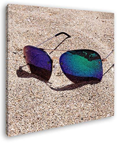 deyoli sandiger Blick durch die Sonnenbrille Format: 60x60 als Leinwand, Motiv fertig gerahmt auf Echtholzrahmen, Hochwertiger Digitaldruck mit Rahmen, Kein Poster oder Plakat