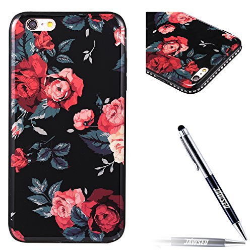 Custodia Cover per iPhone 7 Plus 5.5, JAWSEU Ultra Slim Morbida Soft Custodia Cover Case per iPhone 7 Plus in Gel TPU Silicone Cristallo di lusso di Bling di scintillio lucido Diamante Scintilla per i Floreale #3