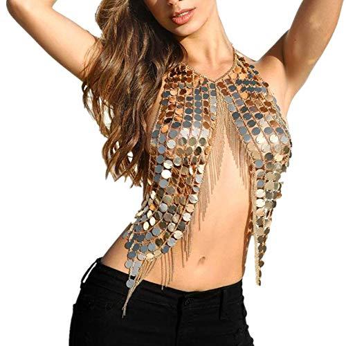 te Körper Schmuck Pailletten Mode Quaste Glanz Einstellbar Sexy Halskette Gliederkette Für Damen Mädchen Bikini BH Outfit Bar Party Zubehör (Gold) ()