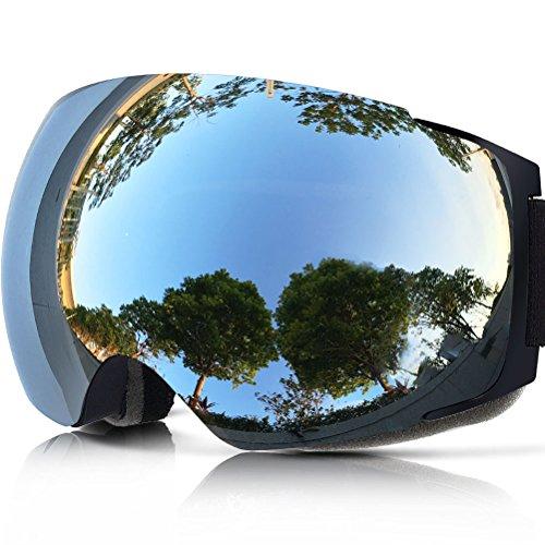 Zionor lagopus x4 snowmobile snowboard skate occhiali da sci con il 100% di protezione uv400 magnet obiettivo veloce cambiamento sferica senza telaio occhiali da sci (negro argento)