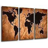 Cuadro Moderno fotografico base madera, 97 x 62 cm, Mapa Mundial, Mapa Mundi, Vintage ref. 26105