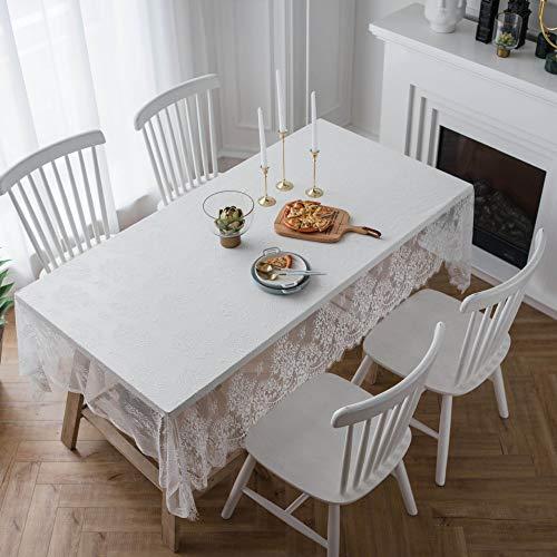 TWTIQ Tischdecke Spitzentischdecken Antifouling Staubschutz Pflegeleicht Küchentischdekoration Weiß 70 * 145 (Navy Chevron Tischdecke)