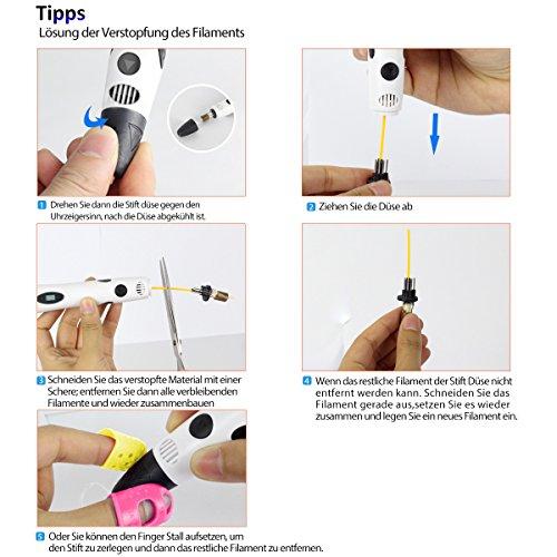 3D Stift Set für Kinder mit PLA Filament 12 Farben -【Neueste Version 2018】3D Stifte mit PLA Farben 120 Fuß und 250 Schablonen eBook, Dikale 07A 3D Pen als kreatives Geschenk für Erwachsene, Bastler zu kritzeleien, basteln, malen und 3D drücken - 10