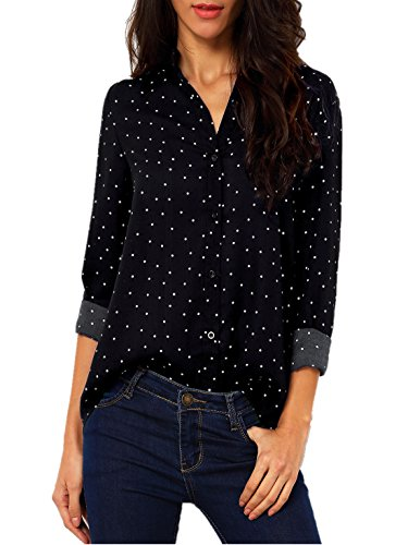 ASCHOEN Damen Casual Bluse Chiffon Shirt Oberteil Elegant Tops T-Shirt Langarmshirt Tupfen (Langarm Seiden-chiffon-bluse)