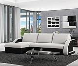 Muebles Bonitos - Sofá cama Kyra con chaise longue universal negro con blanco