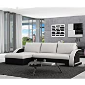 Muebles Bonitos – Sofá cama Kyra con chaise longue universal negro con blanco
