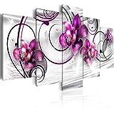 Cuadro 200x100 cm - 3 tres colores a elegir - 5 Partes - Formato Grande - Impresion en calidad fotografica - Cuadro en lienzo tejido-no tejido - flores 020110-146 200x100 cm B&D XXL