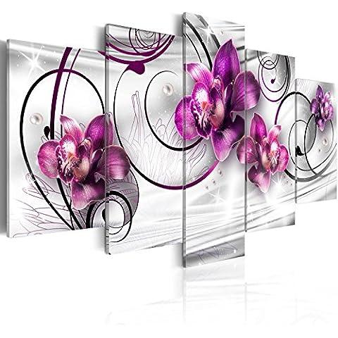 Cuadro en Lienzo 100x50 cm- 3 tres colores a elegir - 5 partes - Impresion en calidad fotografica - Cuadro en lienzo tejido-no tejido - flores 020110-146 100x50 cm B&D XXL