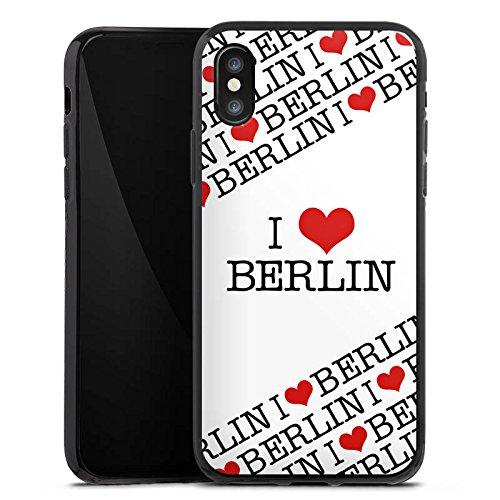Apple iPhone X Silikon Hülle Case Schutzhülle Berlin Love Statement Silikon Case schwarz