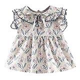 JUTOO Kleinkind Kinder Baby mädchen ärmellose Blumendruck Kleider Kleidung Party Prinzessin Kleider (Lila,100)