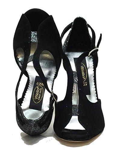 Vitiello Dance Shoes  Helga Camoscio Nero Light Grigio, Chaussons de danse pour femme Noir Nero Noir - Nero e Argento