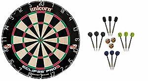 Unicorn Dart Board Eclipse Pro2 Bristle Board + 12 McDart Steeldarts (12...