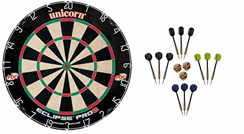 Unicorn Dart Board Eclipse Pro2 Bristle Board + 12 McDart Steeldarts (12 Steeldarts)