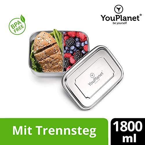 YouPlanet® Premium Lunchbox 1800ml aus Edelstahl mit Trennwand - BPA Frei - Bento Box für Kinder und Erwachsene - Brotdose, Brotbüchse, Vesperdose - inkl. GRATIS Besteck