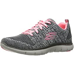 Skechers Flex Appeal 2.0 High Energy Grey Pink Womens Trainers-4