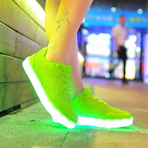 SGoodshoes Adulte Enfants 7 couleurs USB Rechargeable LED Chaussures clignotantes Sport Sneakers Chaussures Vert