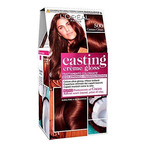 L'oréal paris colorazione capelli casting crème gloss, tinta colore trattamento senza ammoniaca per una fragranza piacevole, 500 castano chiaro