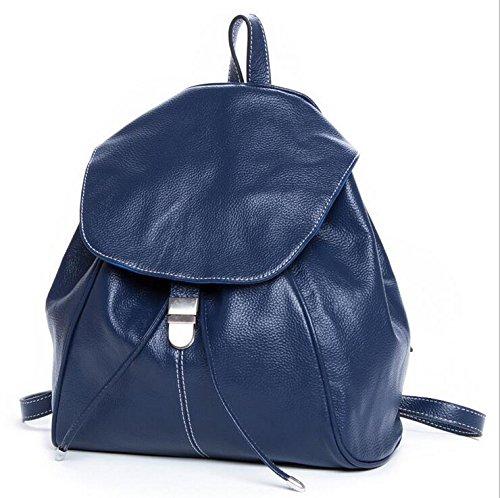Retro-Handtaschen aus Leder Rucksack Blue