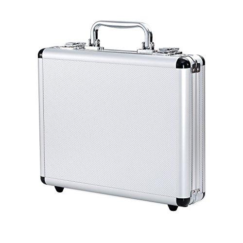 JINTOU ® Aluminium Koffer, 275 x 215 x 65 mm. Kleiner Aluminium-Werkzeugkasten, Instrumenten- / Dokumentenkoffer, Farbe: silber