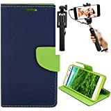 DMG Diary PU Leather Flip Cover Wallet Stand Case for Reliance LYF Earth 1 (Pebble Blue) + Selfie Stick Monopod with Aux (No Battery Needed)
