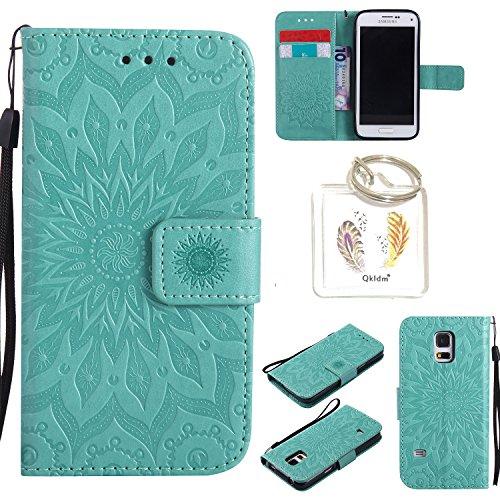 Preisvergleich Produktbild für Samsung Galaxy S5 Mini Geprägte Muster Handy PU Leder Silikon Schutzhülle Handy case Book Style Portemonnaie Design für Samsung GalaxyS5 Mini + Schlüsselanhänger/*18 (1)