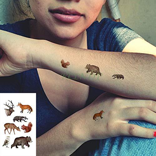 ljmljm 5 stücke wasserdichte Tattoo Aufkleber Tier Wolf Eule Eichhörnchen Tatto Tatoo Hand Tattoos Für Männer Frauen Kid ba Grün 10x7 cm -