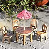 KJH21 1 Set Mini Craft Regenschirm Stühle Set Mini Holz Möbel Set Tisch Stühle DIY Fee Holz Schreibtisch Stuhl Regenschirm Puppenhaus Garten Landschaftsdekoration