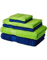 Solimo 100% Cotton 6 Piece Towel Set, 500 GSM (Iris Blue and Spring Green)
