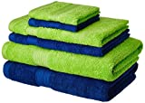 #3: Solimo 100% Cotton 6 Piece Towel Set, 500 GSM (Iris Blue and Spring Green)