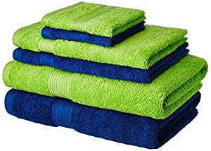 Amazon Brand - Solimo 100% Cotton 6 Piece Towel Set, 500 GSM (Iris Blue and Spring Green)