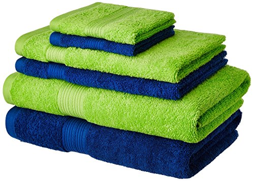 Solimo 100% Cotton 6 Piece Towel Set, 500 GSM (Iris Blue and Spring Green)
