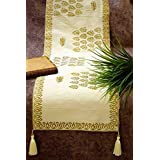 "Dining/Coffee/Center Table Runner - Royal Gold Hand Block Printed Ethnic Silk 'Cream & Golden Color' - Small (54"" X 13"" Inches) - Premium Quality By Royal DecoFurnishing"