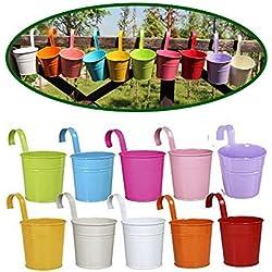 Dproptel Lot De 10 Pcs Fer Pot De Fleur Suspendu Pot À Suspendre Mural Jardiniere En Métal Pour Décor Balcon Jardin Plant Flower Pot