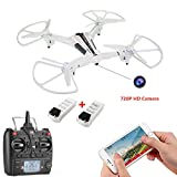 Drone Camera,CELLSTAR Wifi Camera Drone with 140° Wide-Angle 720P HD Live Video Detachable Camera 5.8GHz RC Quadcopter RTF-Optical Flow Positioning Remote Control Helicopter and Gravity Sensing Control New Functions Easy Fly for Training(Bonus 4GB SD Card