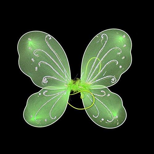 Hinmay Mädchen-Kostüm mit Schmetterlingsflügeln für Halloween, Party, Verkleidungen, grün, Free Size (Butterfly-netze-party)