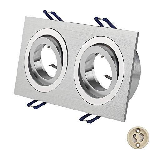 Juego de 2marco de foco empotrable para techo (de aluminio rectangular doble...