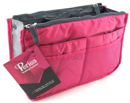 Periea - Organiseur de sac à main, 12 Compartiments - Chelsy (Rose brillant, Grand: H20 x L33.5 x P2-26cm)