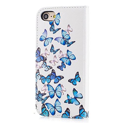 Custodia iPhone 7, iPhone 7 Cover, ikasus® iPhone 7 Custodia Cover [PU Leather] [Shock-Absorption] Colorato verniciato Marmo Floreale Fiore Farfalla Modello Protettiva Portafoglio Cover Custodia color Farfalla blu