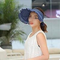 WYM Visor Femenino Verano Salvaje Protector Solar Púrpura Línea Sombrero De La Playa Sombrero Grande Al Aire Libre Sol Sombrero Para El Sol,Blue
